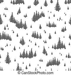 silhuetas, coniferous, árvores., cores, madeiras, abeto, padrão, seamless, têxtil, pretas, desenhado, branca, sempre-viva, woodland., ilustração, impressão mão, wallpaper., floresta, vetorial, ou, fundo