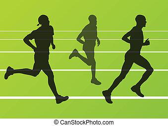 silhuetas, corredores, vetorial, maratona, executando