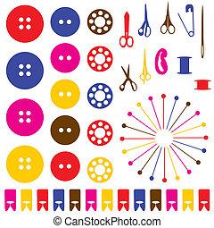 silhuetas, cosendo, set., objetos