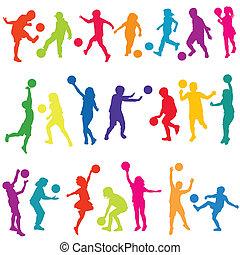 silhuetas, crianças, colorido, bolas, tocando