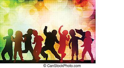 silhuetas, crianças, dançar