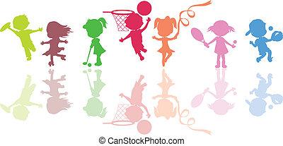 silhuetas, crianças, esportes