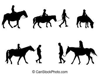silhuetas, crianças, montando, cavalos