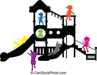 silhuetas, crianças, pátio recreio