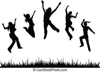 silhuetas, crianças, pular