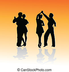 silhuetas, dança, pares