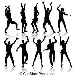 silhuetas, dançar, pessoas