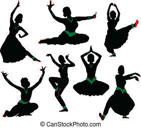 silhuetas, dançarino, indianas