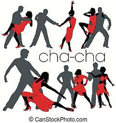 silhuetas, dançarinos, cha-cha, jogo