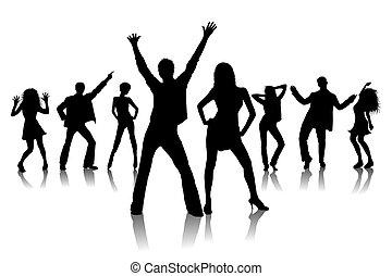 silhuetas, dançarinos, discoteca