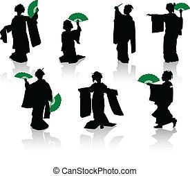 silhuetas, dançarinos, japoneses