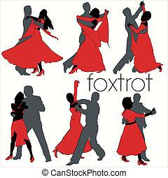 silhuetas, dançarinos, jogo, foxtrot