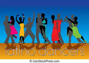 silhuetas, dançarinos, jogo, latino