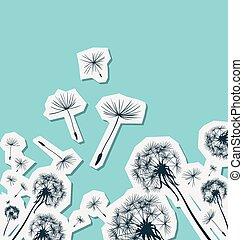 silhuetas, dandelions, vento