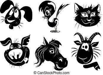 silhuetas, de, animais, -, um, cão, pássaro, gato, porca, cavalo, cabra