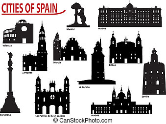 silhuetas, de, cidades, em, espanha