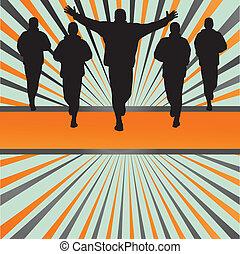 silhuetas, de, corredores, vetorial, frente, coloridos, estouro, fundo, para, cartaz