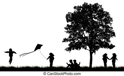 silhuetas, de, crianças, ler, livro, sob, árvore
