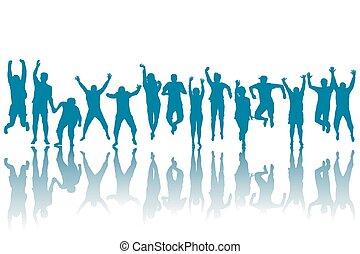 silhuetas, de, feliz, pessoas pulando