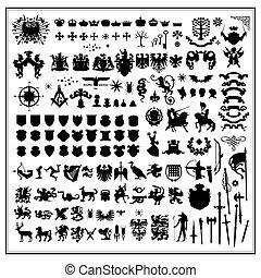 silhuetas, de, heraldic, desenho