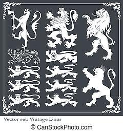 silhuetas, de, heraldic, elementos