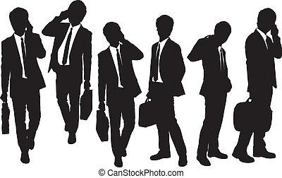 silhuetas, de, homens negócio, falando, telefone