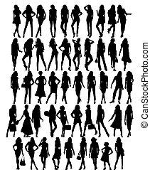 silhuetas, de, homens, ., vetorial, ilustração
