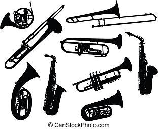 silhuetas, de, instrumentos vento