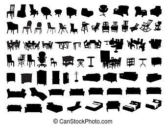 silhuetas, de, mobília, ícone