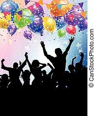 silhuetas, de, partido, pessoas, ligado, um, balões, e, confetti, fundo