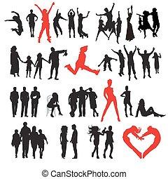 silhuetas, de, people:, negócio, família, desporto, moda, amor