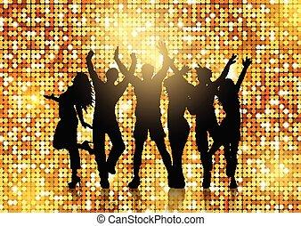 silhuetas, de, pessoas, dançar, ligado, glittery, ouro, fundo