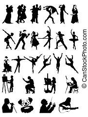silhuetas, de, pessoas, de, art., um, vetorial, ilustração