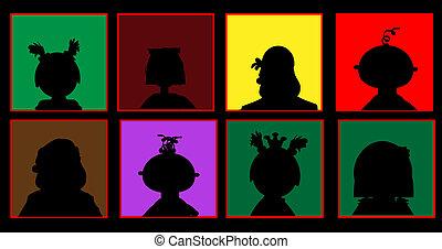 silhuetas, de, pessoas, ligado, um, colorido