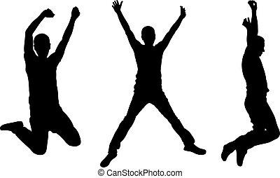silhuetas, de, pessoas pulando