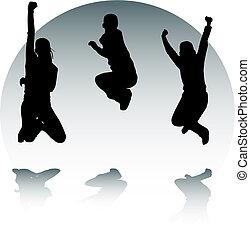 silhuetas, de, pular, adolescentes