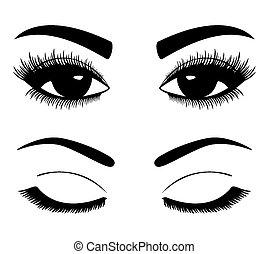 silhuetas, de, sobrancelhas, e, olhos