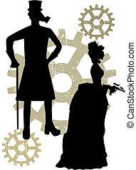 silhuetas, de, steampunk, victorians, grungy, engrenagem
