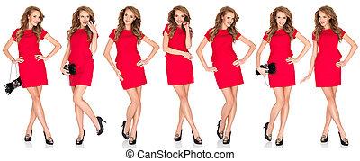 silhuetas, de, um, excitado, loura, mulher, em, vestido vermelho