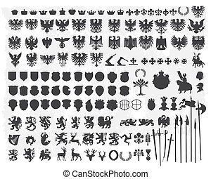 silhuetas, desenho, heraldic