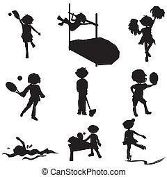 silhuetas, desporto, caricatura, crianças