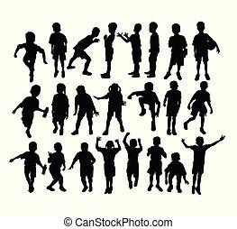 silhuetas, desporto, crianças, atividade, feliz