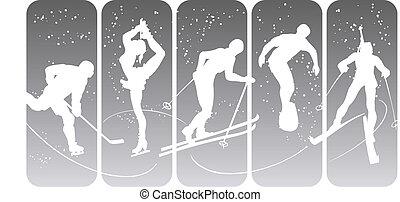 silhuetas, desporto, inverno