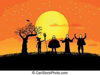 silhuetas, dia das bruxas, criança