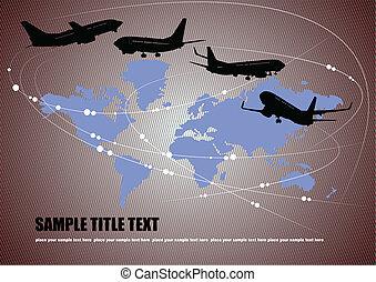 silhuetas, em, avião, terra