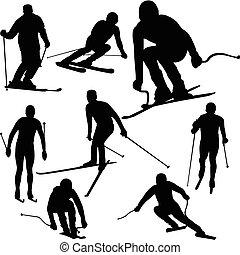 silhuetas, esquiador