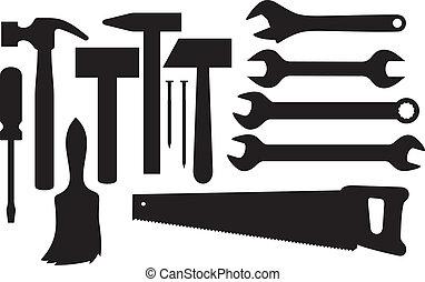 silhuetas, ferramentas, mão