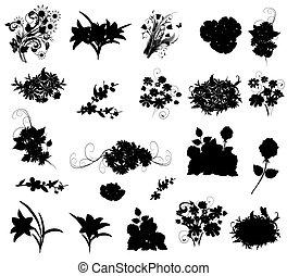 silhuetas, flores