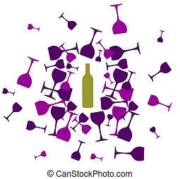 silhuetas, fundo, wineglasses, garrafa, vinho
