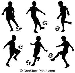 silhuetas, futebol, tocando, crianças